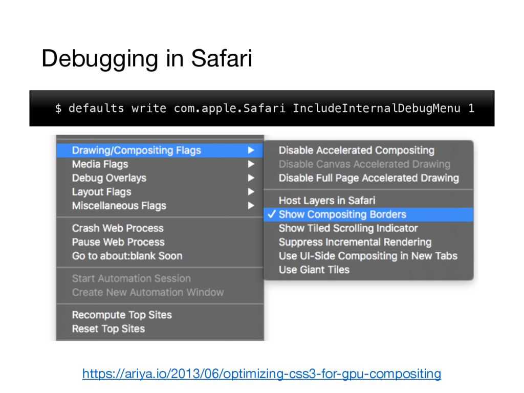 Debugging in Safari $ defaults write com.apple....