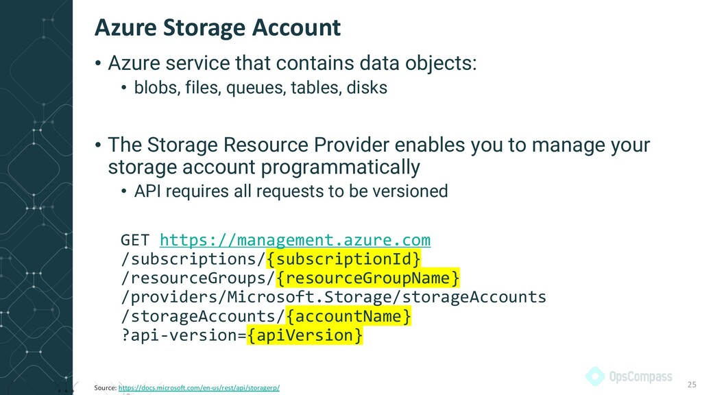 • Azure service that contains data objects: • b...