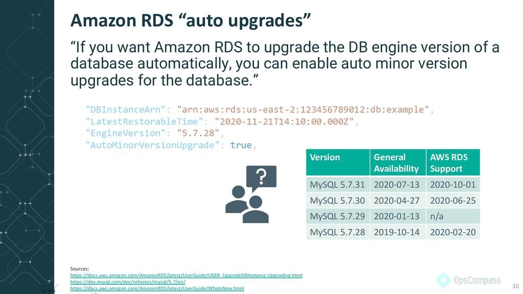 """Amazon RDS """"auto upgrades"""" 30 """"If you want Amaz..."""