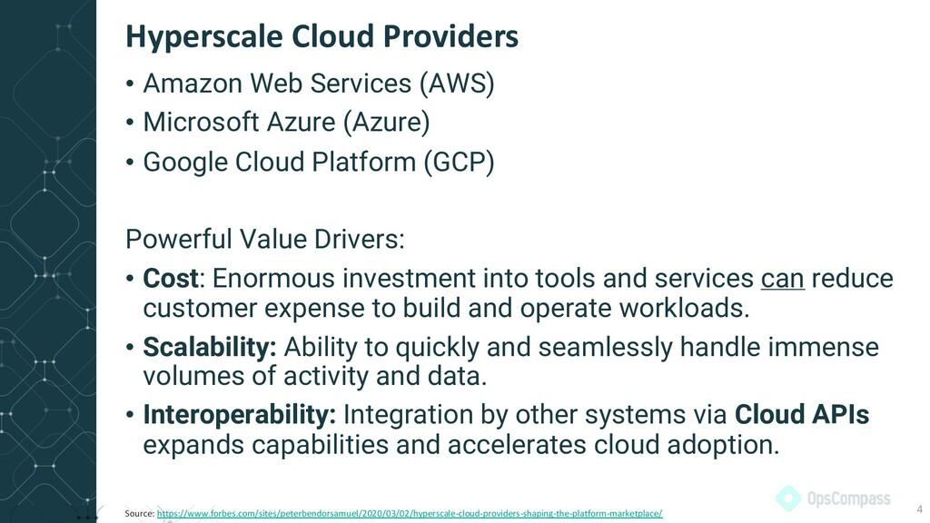 • Amazon Web Services (AWS) • Microsoft Azure (...