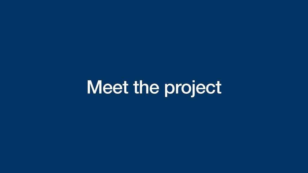 Meet the project