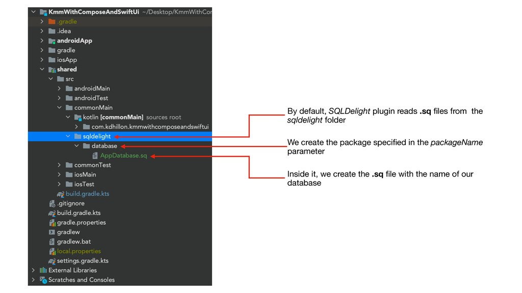 By default, SQLDelight plugin reads .sq files fr...
