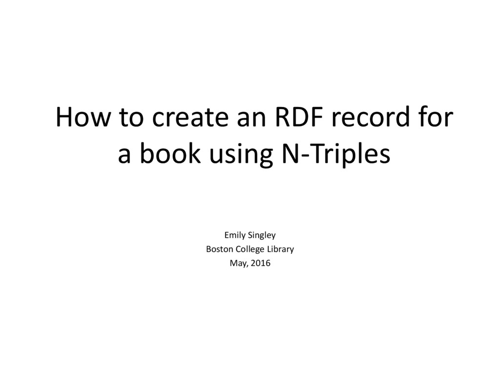How to create an RDF record for a book using N-...