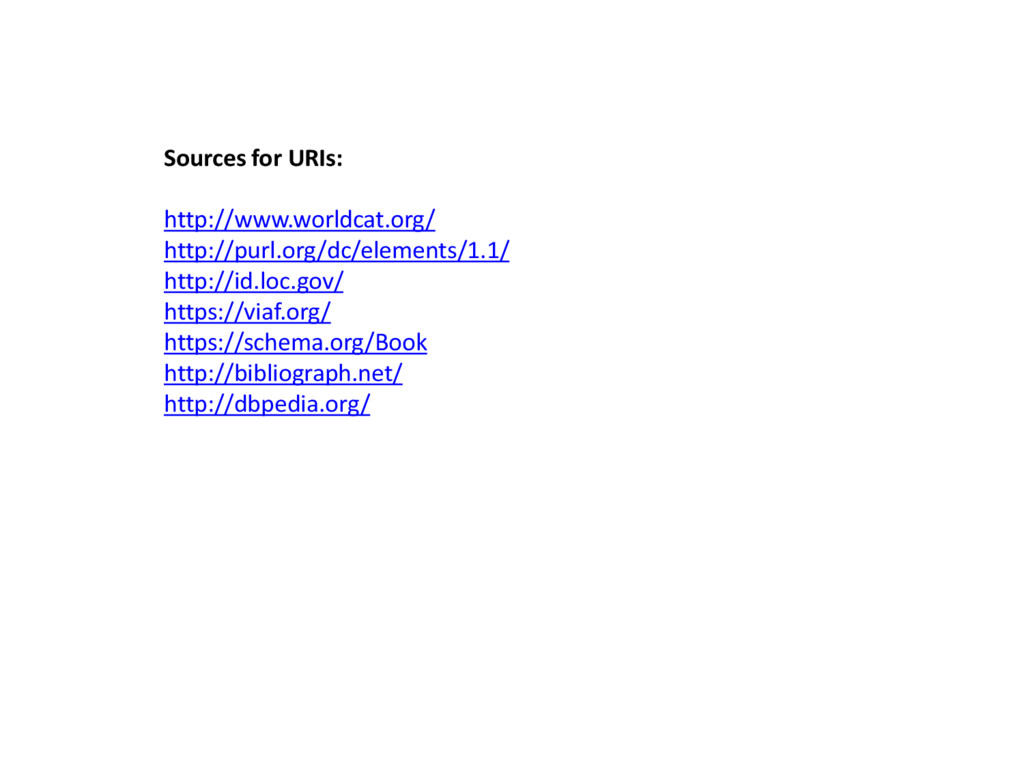 Sources for URIs: http://www.worldcat.org/ http...