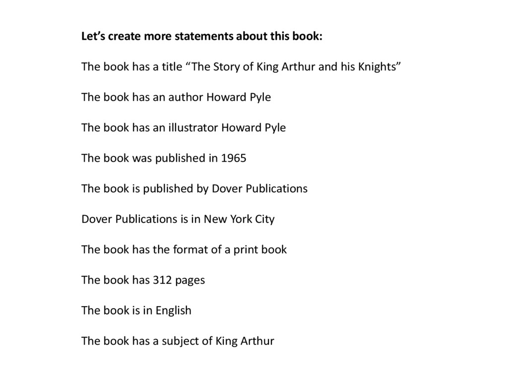 Let's create more statements about this book: T...