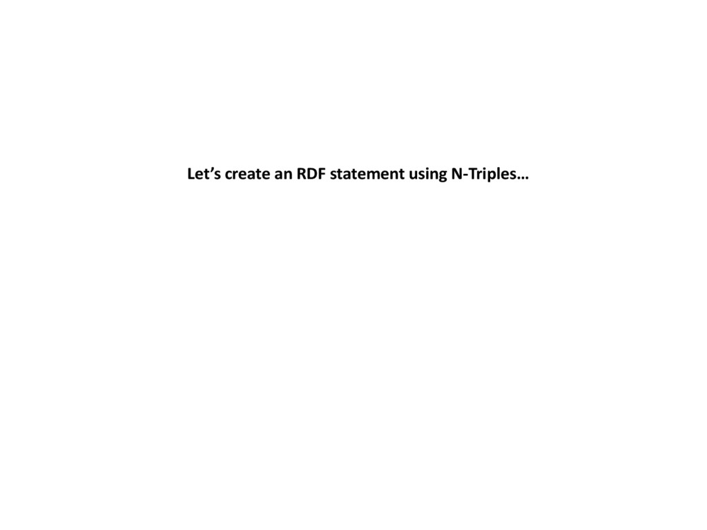 Let's create an RDF statement using N-Triples…