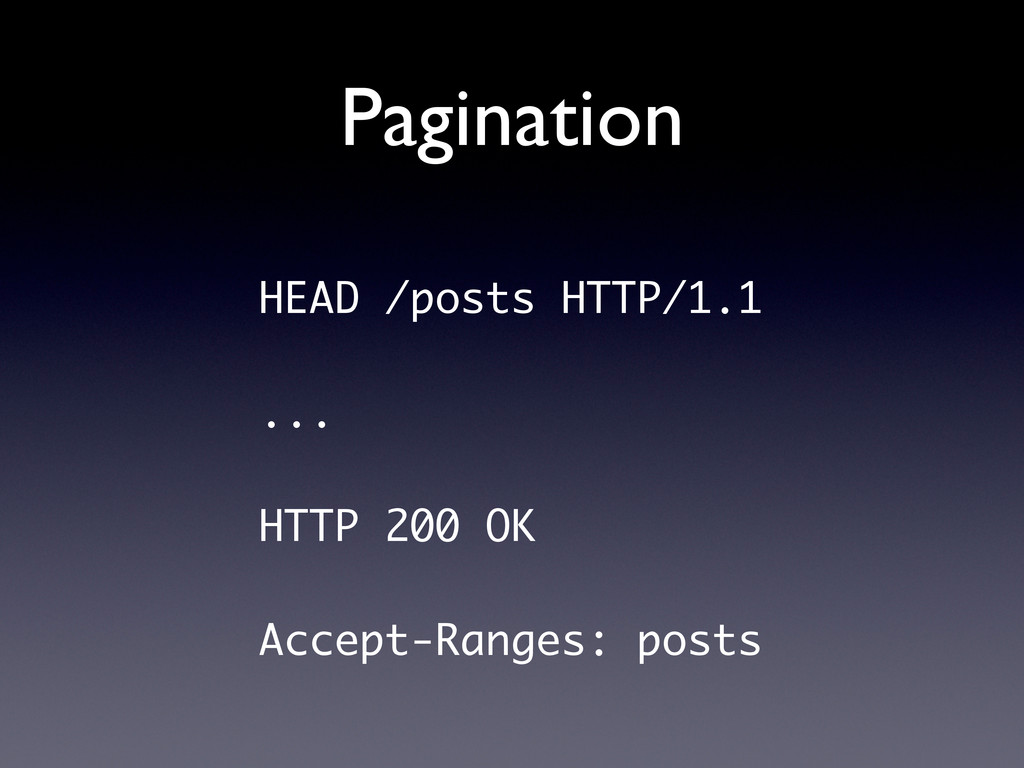 Pagination HEAD /posts HTTP/1.1 ... HTTP 200 OK...