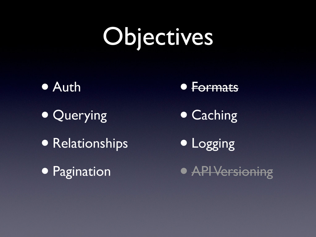 Objectives •Auth •Querying •Relationships •Pagi...