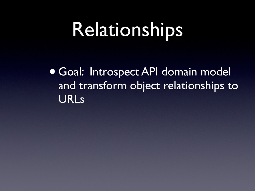 Relationships •Goal: Introspect API domain mode...