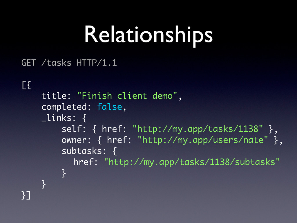 "Relationships GET /tasks HTTP/1.1 [{ title: ""Fi..."