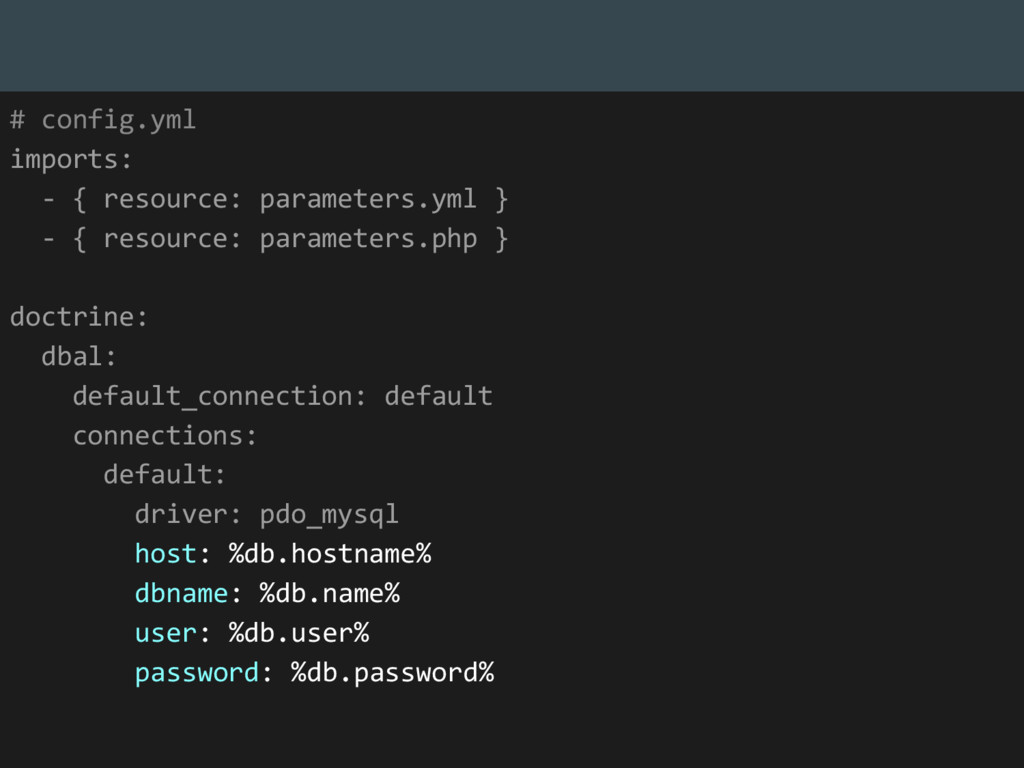 # config.yml imports: - { resource: parameters....