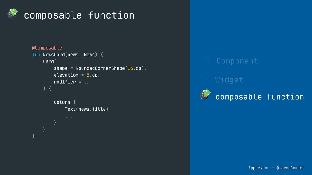 Component Widget composable function composable...