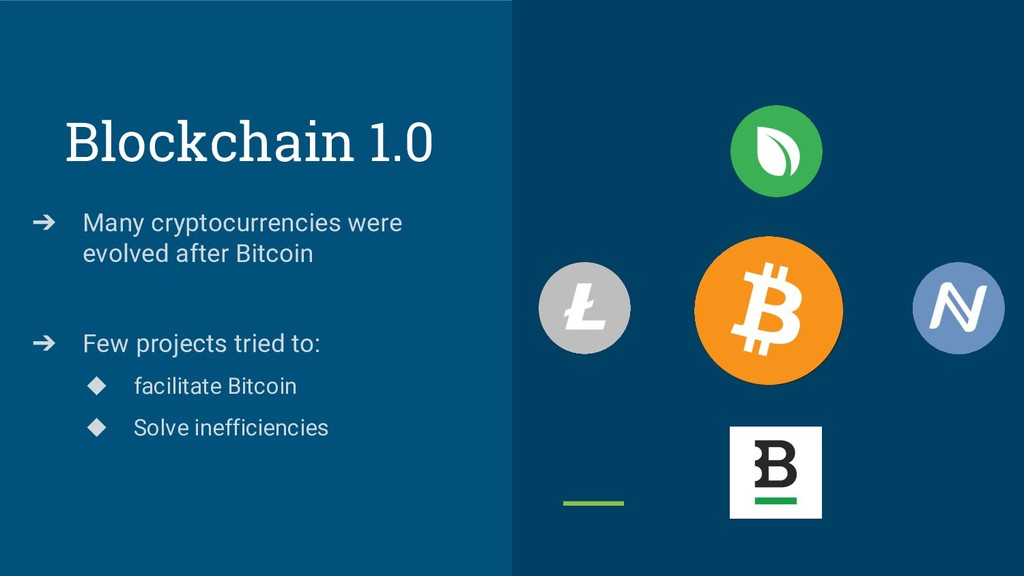 Blockchain 1.0 ➔ Many cryptocurrencies were evo...