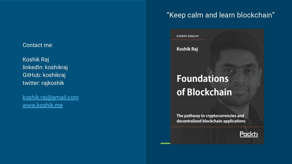 """Keep calm and learn blockchain"" Contact me: Ko..."