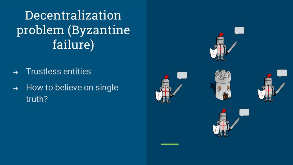 Decentralization problem (Byzantine failure) ➔ ...