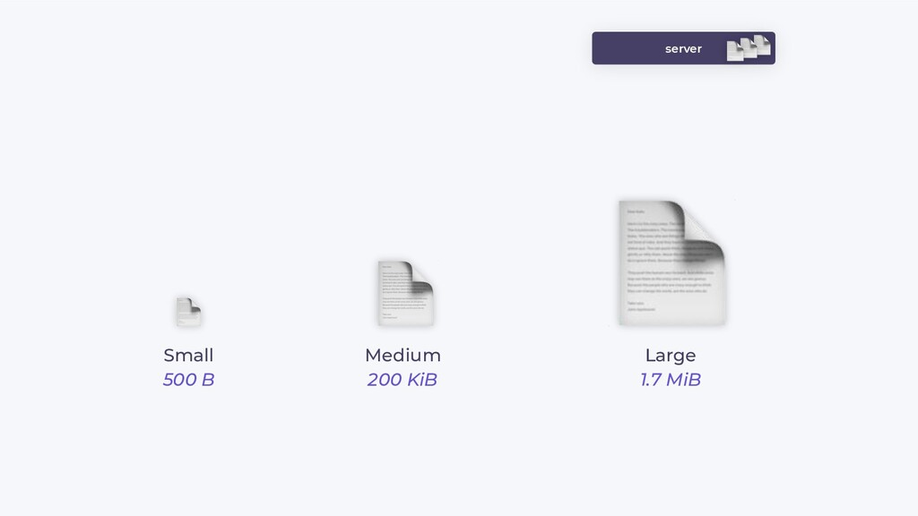 server Small 500 B Medium 200 KiB Large 1.7 MiB