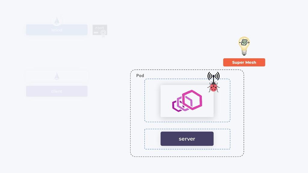 client istiod root server Pod Super Mesh