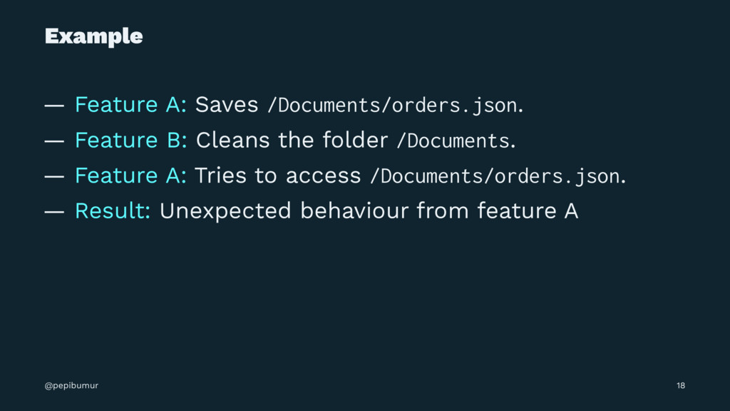 Example — Feature A: Saves /Documents/orders.js...