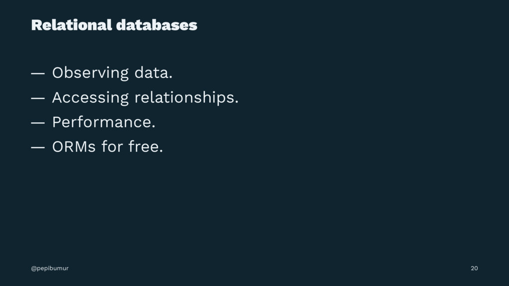Relational databases — Observing data. — Access...