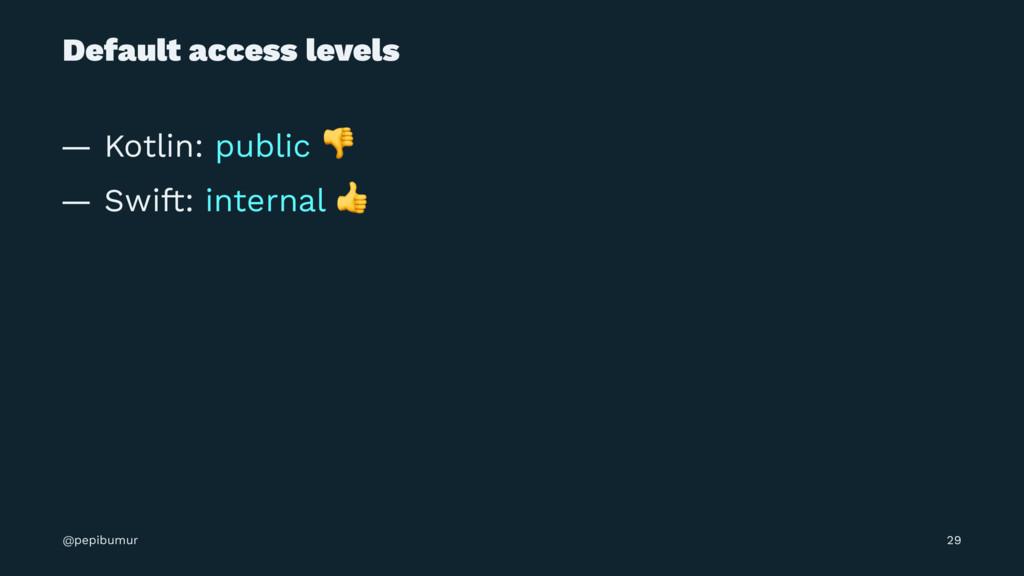 Default access levels — Kotlin: public ! — Swif...