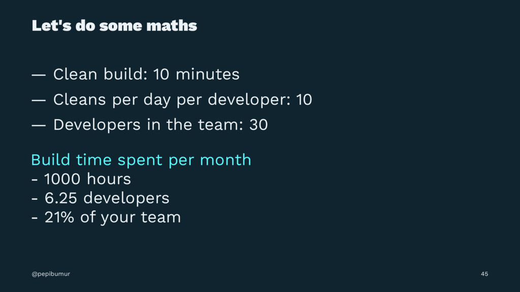 Let's do some maths — Clean build: 10 minutes —...