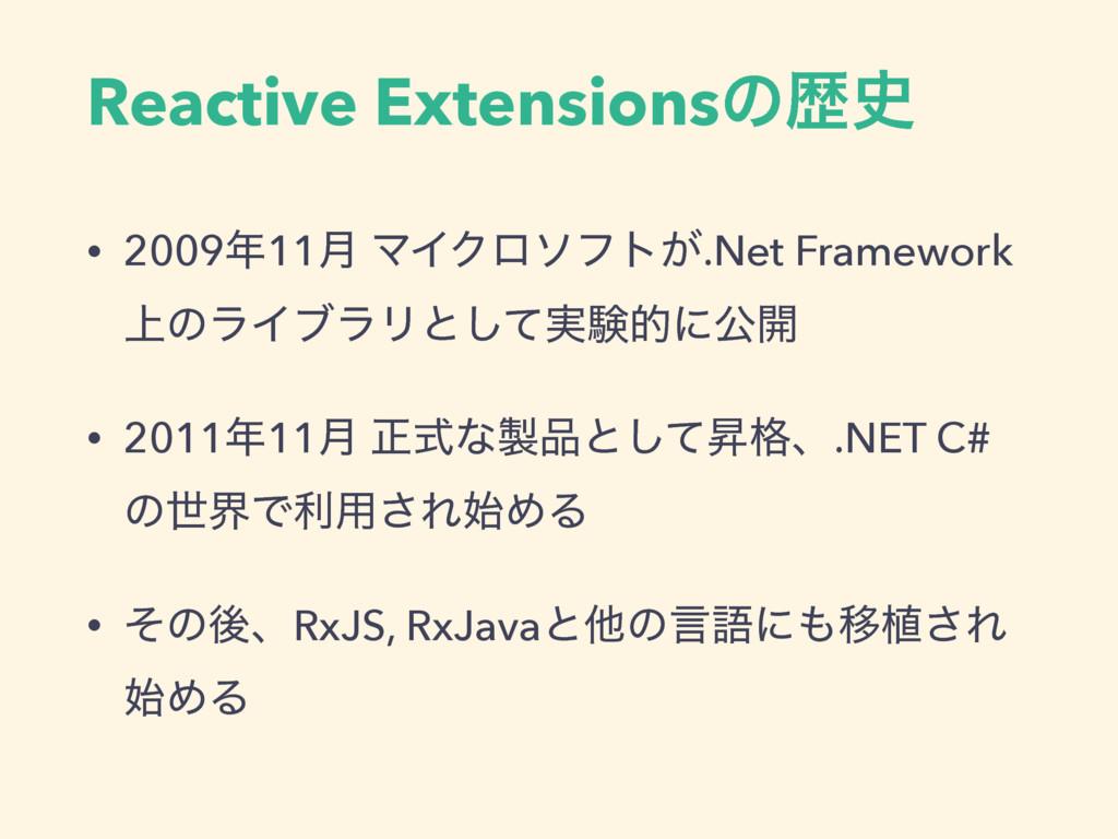 Reactive Extensionsͷྺ • 200911݄ ϚΠΫϩιϑτ͕.Net ...
