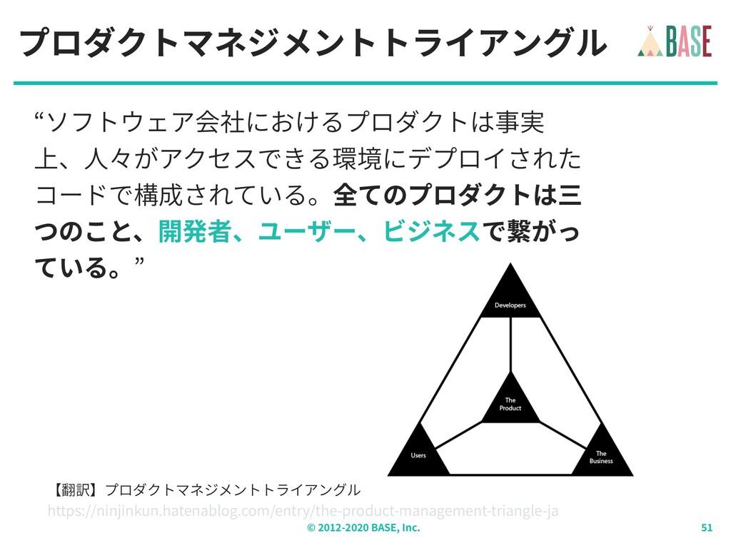"© - BASE, Inc. プロダクトマネジメントトライアングル ""ソフトウェア会社における..."