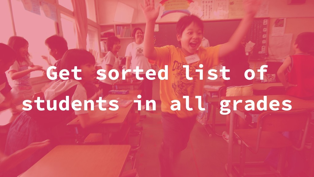 Get sorted list of students in all grades