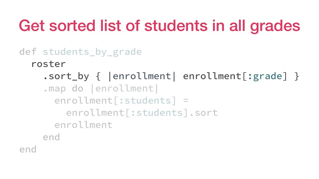 Get sorted list of students in all grades def s...