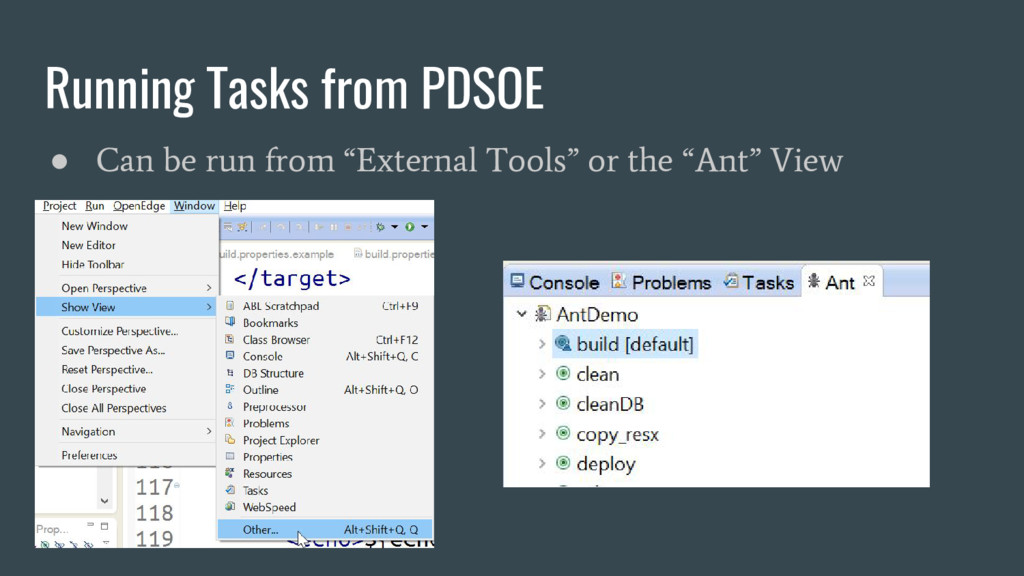 "Running Tasks from PDSOE ● Can be run from ""Ext..."