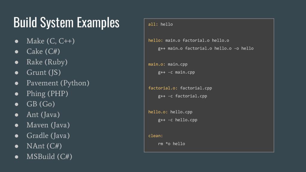 Build System Examples ● Make (C, C++) ● Cake (C...