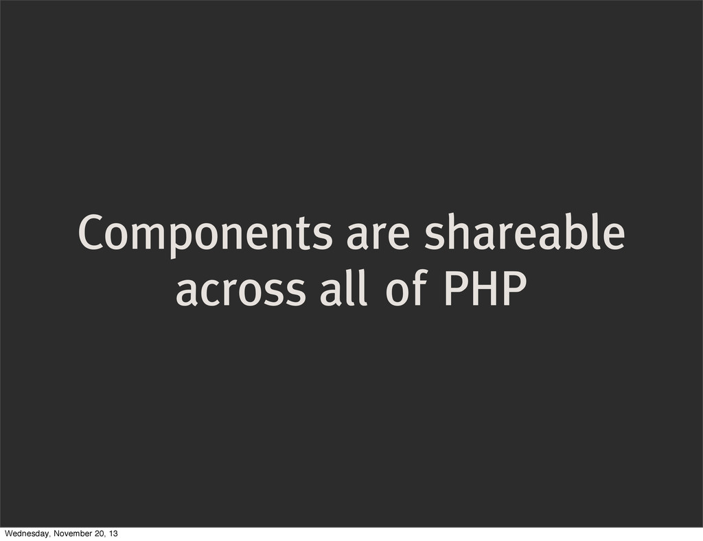 Components are shareable across all of PHP Wedn...