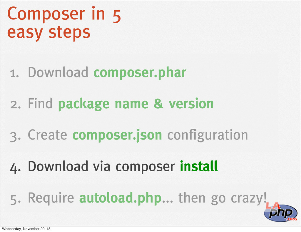 Composer in 5 easy steps 1. Download composer.p...