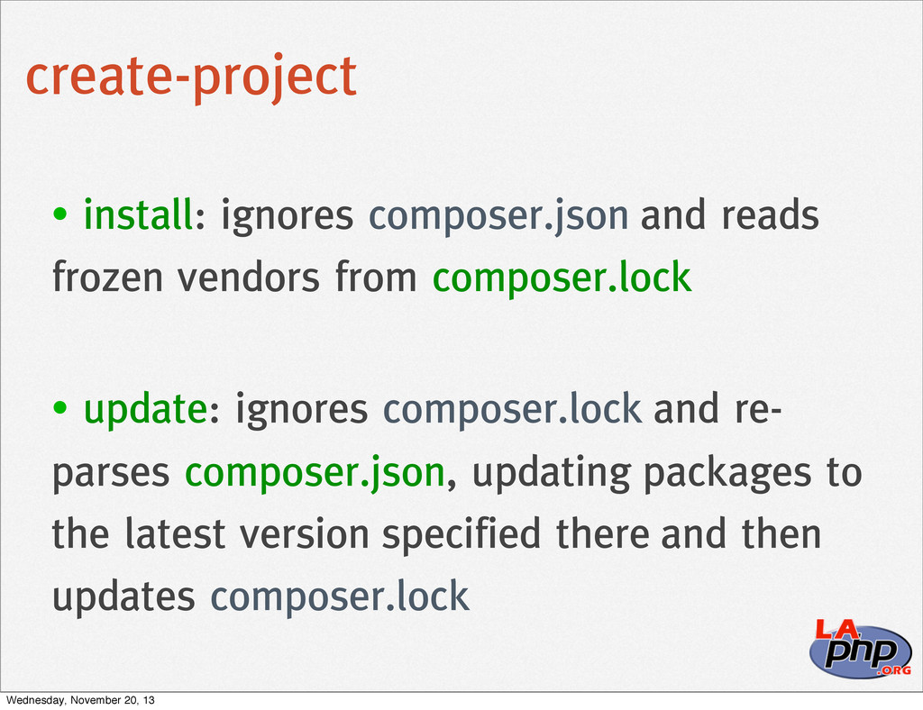 create-project • install: ignores composer.json...