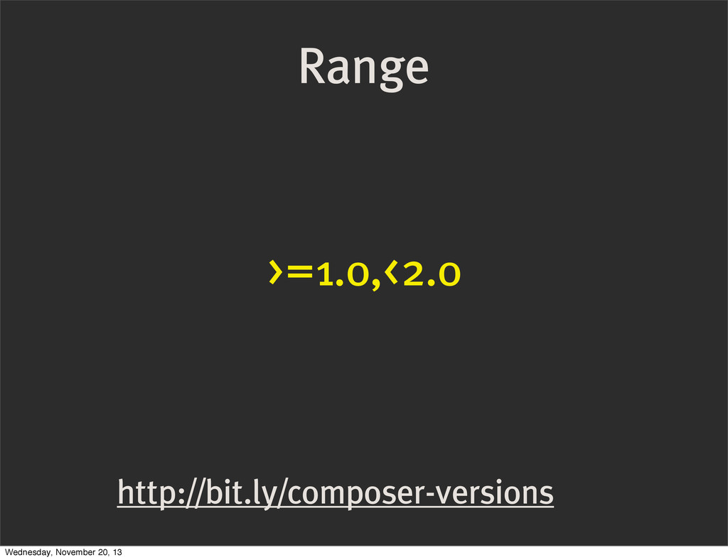 http://bit.ly/composer-versions >=1.0,<2.0 Rang...