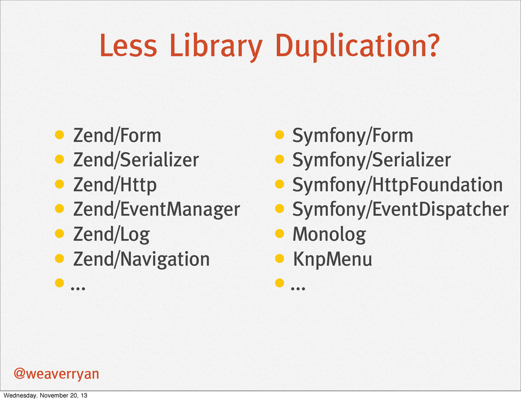 Less Library Duplication? • Zend/Form • Zend/Se...