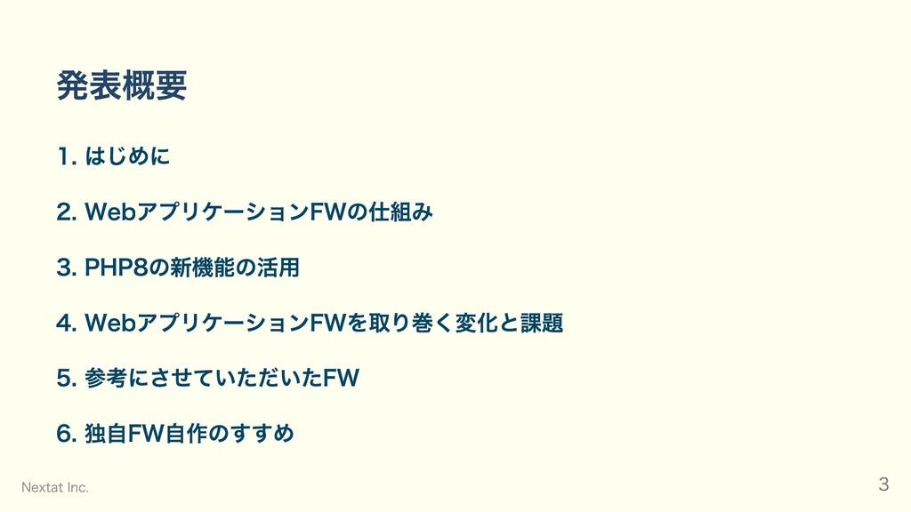 発表概要 1. はじめに 2. WebアプリケーションFWの仕組み 3. PHP8の新機能の活...