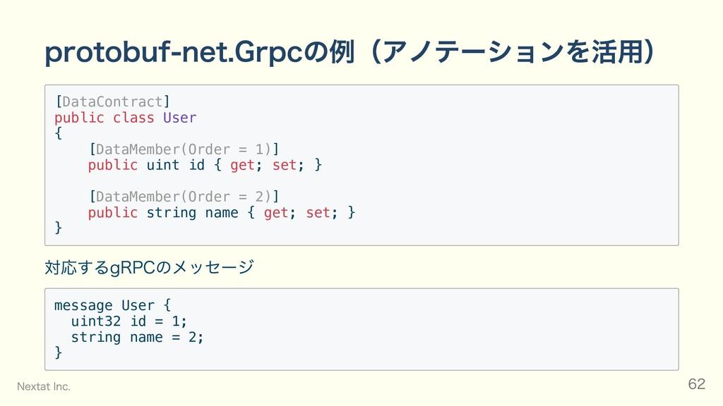 protobuf-net.Grpcの例(アノテーションを活⽤) [DataContract] ...