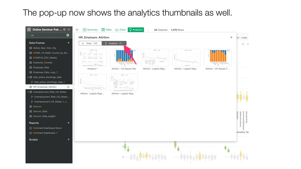 The pop-up now shows the analytics thumbnails a...