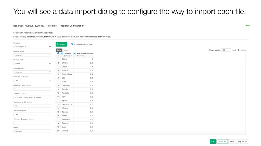 You will see a data import dialog to configure t...
