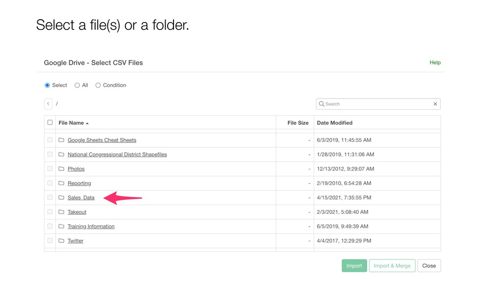 Select a file(s) or a folder.