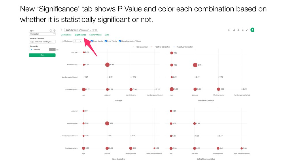 New 'Significance' tab shows P Value and color e...