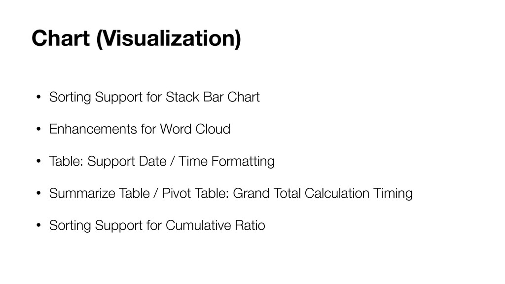 • Sorting Support for Stack Bar Chart • Enhance...