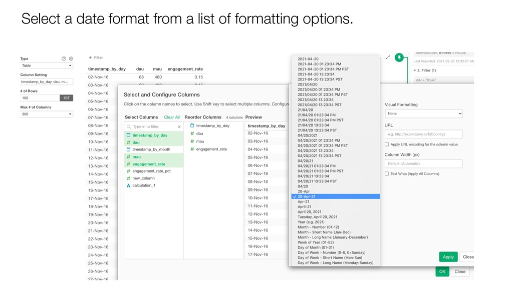 Select a date format from a list of formatting ...
