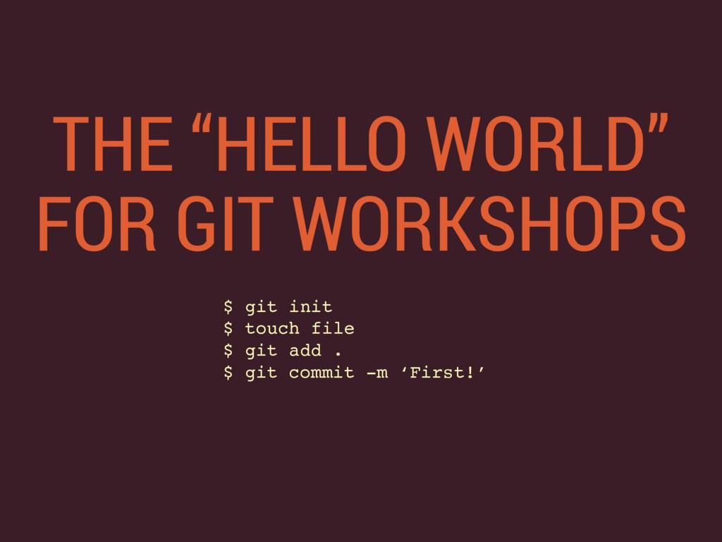"""THE """"HELLO WORLD"""" FOR GIT WORKSHOPS $ git init..."""