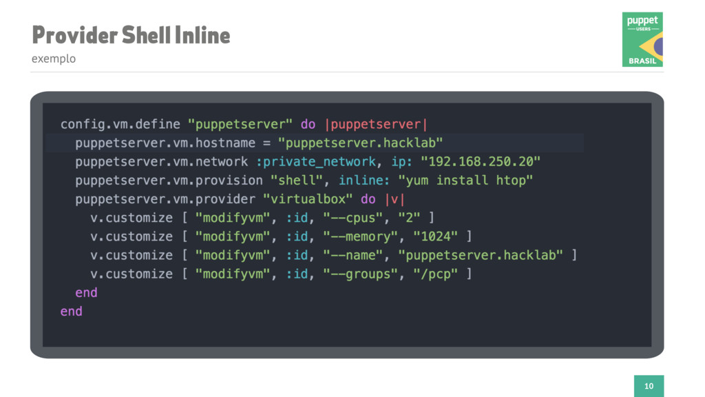 Provider Shell Inline exemplo 10