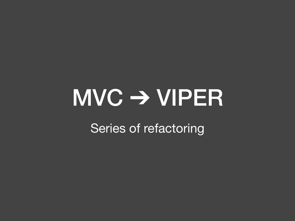 MVC ➔ VIPER Series of refactoring