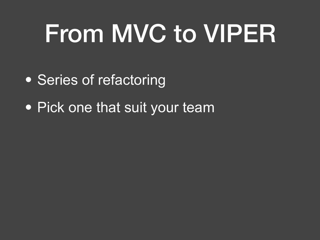 From MVC to VIPER • Series of refactoring • Pic...