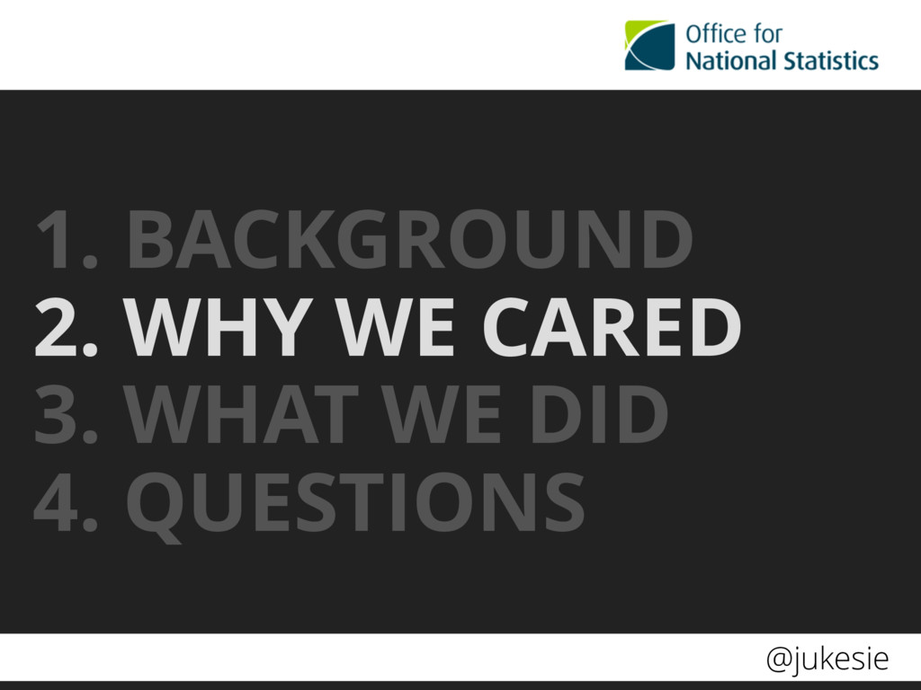 @jukesie 1. BACKGROUND 2. WHY WE CARED 3. WHAT ...