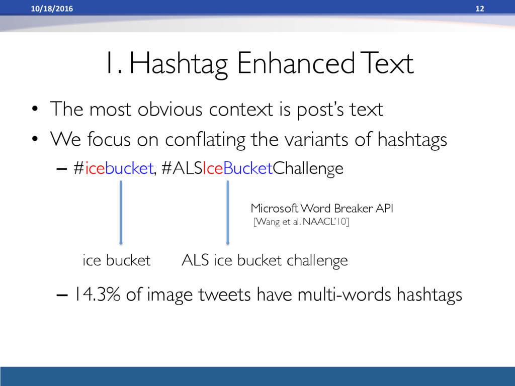 1. Hashtag Enhanced Text • The most obvious co...